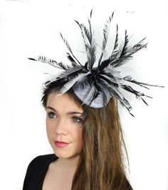 Grey Fascinator Hat for Kentucky Derby, Weddings and Christmas Parties on a Headband