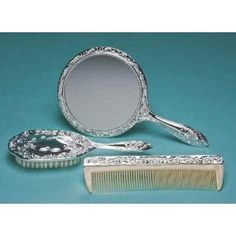 3 pc Silver Chrome Girls Vanity Set Comb Brush Mirror.  by Kingsley