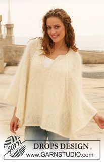 "Knitted DROPS poncho in ""Vienna"". Size S -XXXL. ~ DROPS Design"