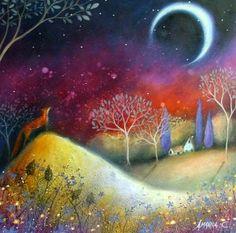 artists, moon, art paintings, dream, color, amanda clark, clarks, foxes, crescent