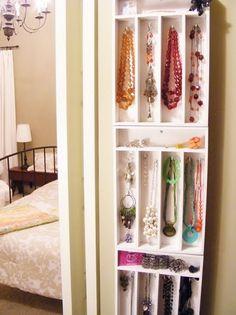 jewelery organizer (made from hanging cutlery tray!) - hang on back of bathroom door with over-door hooks.