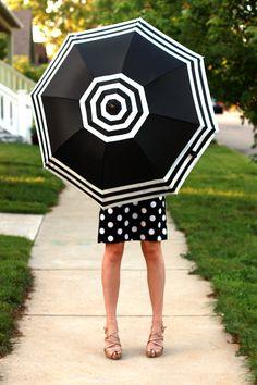 DIY striped umbrella ella ella. :) tutorials, polka dots, black white, diy umbrella, paints, stripe umbrella, stripes, kid crafts, april showers