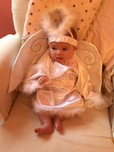 "One Step Ahead for your Halloween Costume Shopping!   ""The angel costume features a satin gown, shimmering wings, halo headband, and non-skid booties. This costume is ideal for babies 6-12 months! While this outfit is purely adorable, the best part is, is it is only $16! You can't beat that!..."""