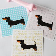 Graphic Dachshund Print // Black & Tan and Red Doxie by FlyingHero, $10.00