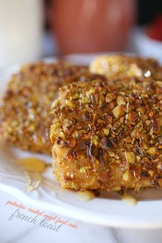 Pistachio Crusted Angel Food Cake French Toast
