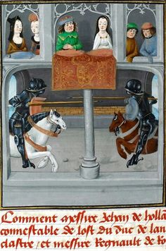Joust. Jean of Wavrin. Title Recueil des croniques d'Engleterre Origin: France, N. E. (Lille?) and Netherlands, S. (Bruges). Date: c. 1470. British Library. Medieval Imago & Dies Vitae Idade Media e Cotidiano