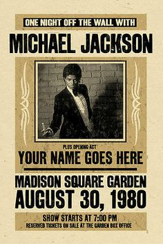 Your Name On A MICHAEL JACKSON Concert Poster - Personalized Gift - http://www.michael-jackson-memorabilia.com/?p=7421