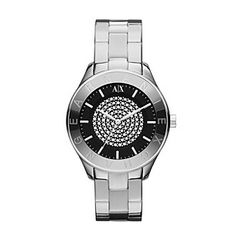 A|X Armani Exchange Women's Stainless Steel Silver Tone Watch with Black Dial & Center Hint of Glitz