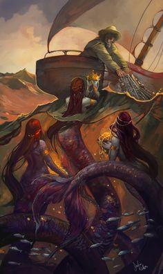 treasures, art illustrations, sirens, fantasi, juli dillon, sea, fisherman, mermaid, sailor