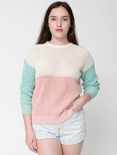 Unisex Color Block Fisherman's Pullover | Tienda American Apparel 15thing fashion, sweaters, american apparel, fashion styles, fashion outfits, colorblock, unisex color, sleev sweater, fisherman pullov