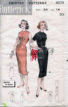 Rare Vintage 50's Fitted Short Sleeve Sheath by retromonkeys, $25.00