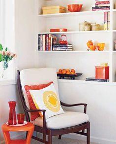 #home #apartment #decor #interior #white #orange #design