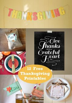 12 Free Thanksgiving Printables