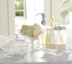 PB Classic Glass Bath Accessories #potterybarn