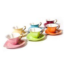 Heart Cup & Saucer Set 5oz Gold