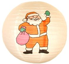 """16"""" Santa Chinese Japanese Paper Lantern  Diameter: 16""""  Expanding with a metal frame  Bulb and cord are not included"""