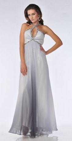 Gray Formal Dress Rhinestone Halter Open Low Back Long Chiffon Satin $267.99