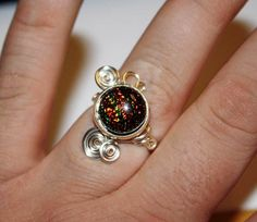 Dichoric Glass Ring - Adjustable Wire Wrap Orange Fused Glass Ring $25.00