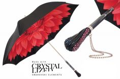 flower umbrellas, luxuri product, dahlia red, red flowers, parasol, pasotti ombrelli, swarovski crystal, luxuri gadget, black luxuri
