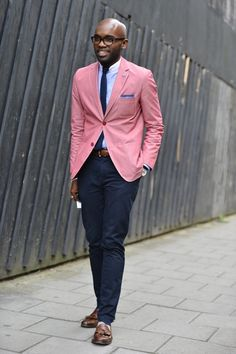Pink Jacket, Navy Chinos, and Tie. Men's Spring Summer Fashion.