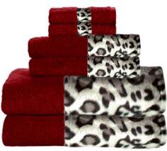 Snow Leopard & Cranberry Bordering Africa Bath Towels  $11.00-$27.00 SALE $10.00-$24.00