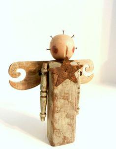 Folk Art Angel Primitive Wooden Angel by happenstanceNwhimsy, $12.00