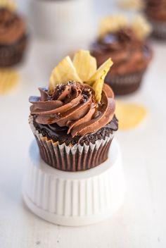 "Chocolate ""Chip"" Cupcakes with Coffee Glaze and Chocolate Ganache"