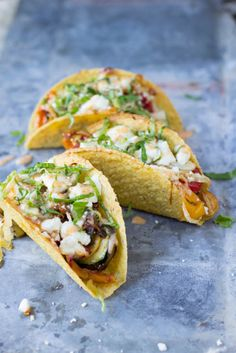 Fresh veggies sauteed and stuffed into a crunchy delicious taco topped with creamy queso fresco dinner, cook, crema, food, veggi taco, taco recipes, delici taco, spici, vegetarian tacos