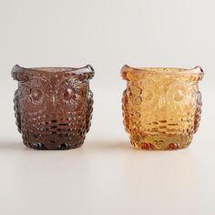 Glass Owl Tealight Candleholders Pinned by www.myowlbarn.com
