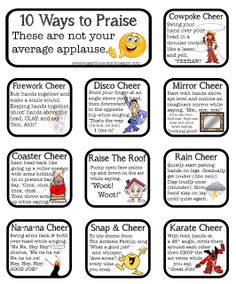 great ideas for energy awards! Sugar Blossoms: Classroom Cheers