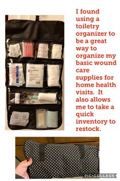 Home health supplies organizer for nurses