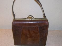 VINTAGE LEATHER Box Purse Snakeskin Brown by NonisEclecticShop, $50.00