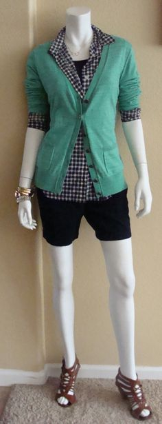 Daily Look: CAbi Spring  '14 Mesh Shirt and Simple Cami, Navy with the Billi Cardigan and a great pair of Navy chino shorts and sandals.