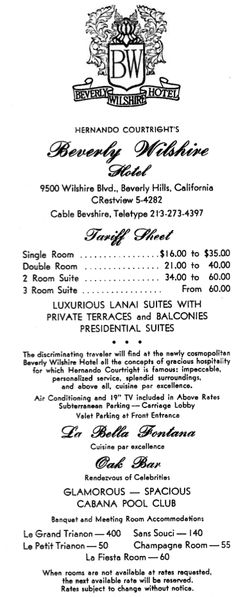 Beverly Wilshire Hotel bill from 1963