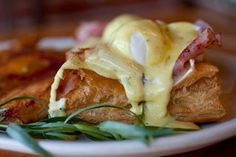 Eiffel Eggs Benny - Puff pastry, brie cheese, poached eggs, with a rich Hollandaise sauce, and accompanied by a side of hash brown potatoes! YUM!!