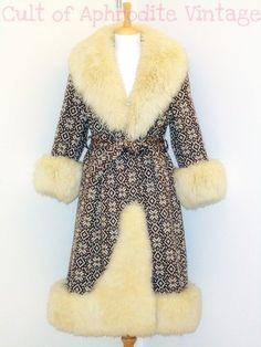 Vintage 70s Lilli Ann Nordic Pattern Sheepskin Shearling FUR Trim Belted Princess COAT. $480.99, via Etsy.