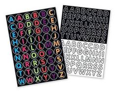 need these to label for each little guy alphabet sticker, trunki sticker, stickers, black white, letter sticker, neon colors, trunki alphabet, fabul letter, basic black