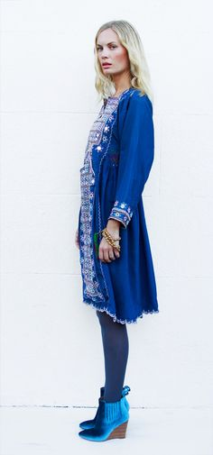 Tavin Boutique - Teal Blue Mirrored Afghani Dress