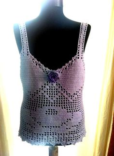 Crochet Lilac Top Tank Halter with Rose Design Wedding by sebsurer, $65.00