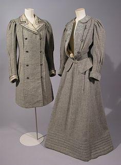 Grey wool tweed coat