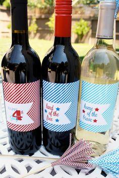 Printable 4th of July Wine Label Set