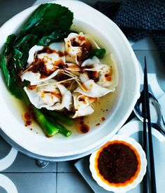 Wonton soup with Sichuan red oil and black vinegar chilli sauce recipe :: Gourmet Traveller