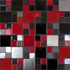 red, black, grey, white kitchen backsplash tile design, grey and red bathroom ideas, kitchen idea, kitchen backsplash, kitchen dream, dream hous, red and black bathroom ideas, backsplash kitchen black red, mosaic tiles