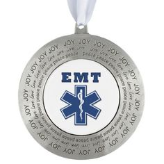 EMT Star Of Life Round Pewter Ornament