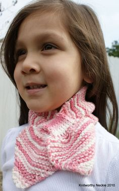 Knitted Neckie / Scarf / Scarflette in Strawberry Shortcake #knit #girls