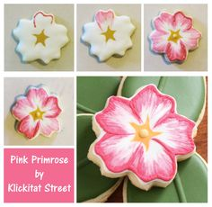 Pink Primrose Flower Sugar Cookies