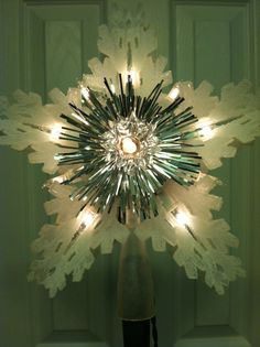 Vintage Clear Light Up Christmas Tree Star Topper In Original Box, via Etsy.