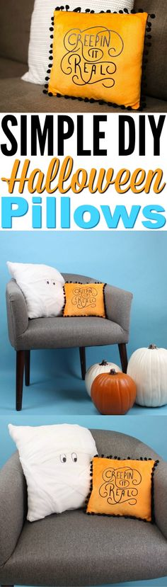 We made some really cute Simple DIY Cricut Halloween Pillows  you're going to love. One is a super easy mummy pillow and another one is a fun  Iron-On pillow. #halloween #happyhalloween  #trickortreat #halloweenparty #halloweenfun #crafts #craftideas #DIY #halloweenDIY  #halloweencraft #projects #diycrafts  #diyprojects #fundiys #funprojects #diyideas #craftprojects #diyprojectidea  #cricut #cricutprojects