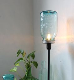 Upcycled Antique Mason Jar Table Top Lamp c/o BootsNGus