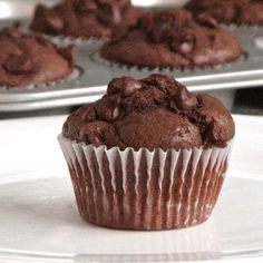 Double chocolate buttermilk muffins; get your chocolate fix at breakfast!